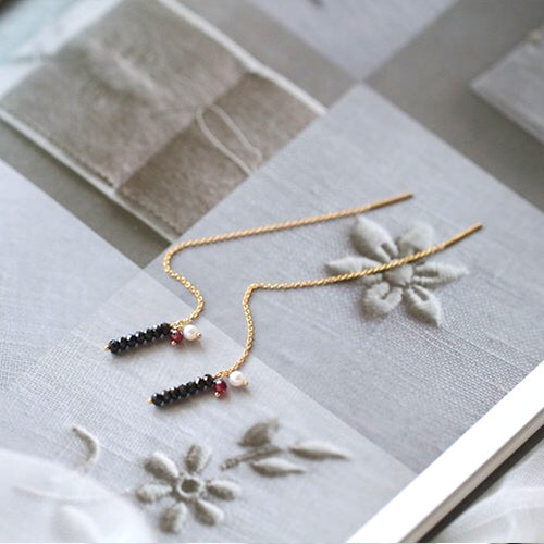 Long 14K Gold Filled Thread Earrings Black Spinel Garnet Pearl Dangle Earrings for Women