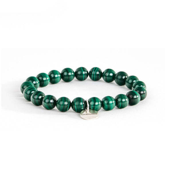 Malachite Bead Silver Bracelet Handmade Gemstone Jewelry Accessories Women Men gift