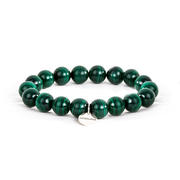 Malachite Bead Silver Bracelet Handmade Gemstone Jewelry Accessories Women Men