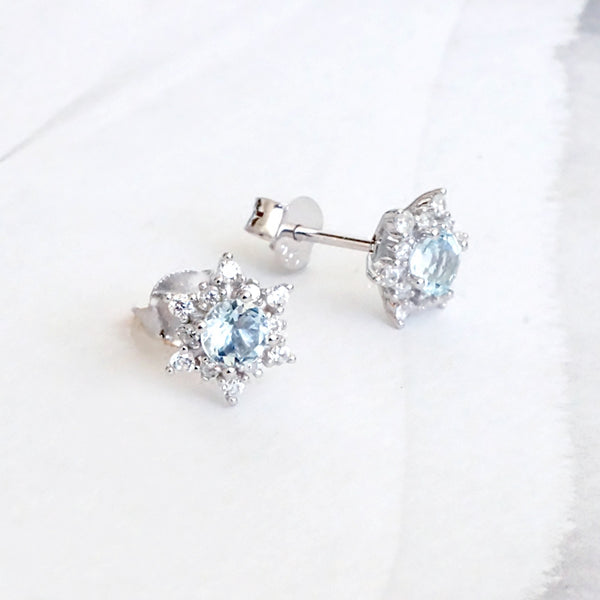 Aquamarine Snowflake Stud Earrings with Diamond Halo in White Gold Plated Sterling Silver