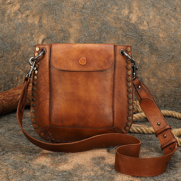 Medium Women's Western Cowhide Leather Crossbody Purse Satchel Bag For Ladies Accessories