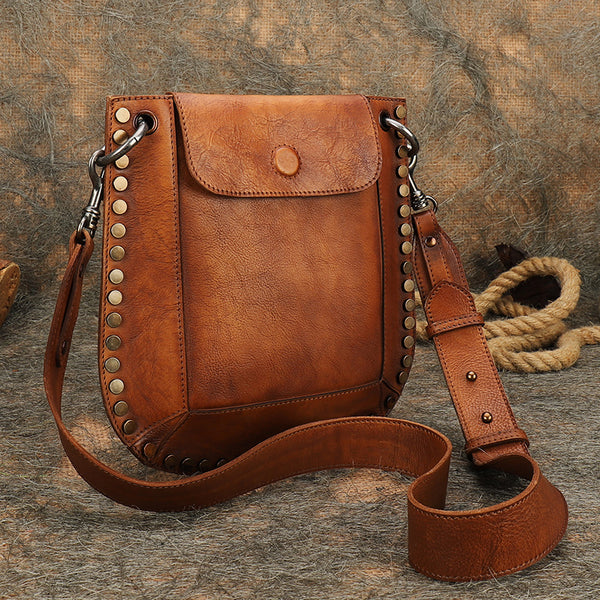 Medium Women's Western Cowhide Leather Crossbody Purse Satchel Bag For Ladies