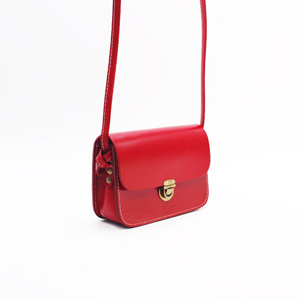 Mini Vintage Handmade Leather Crossbody Shoulder Bags Purses Women gift Accessories red