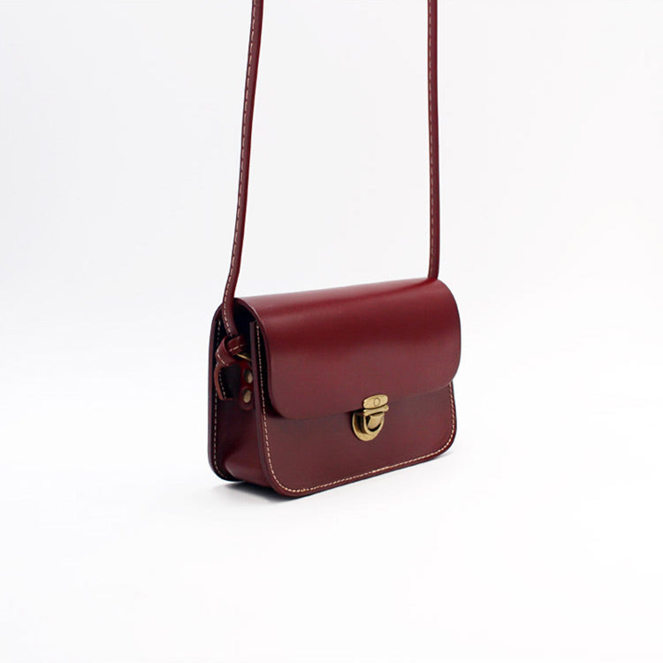 ad4e8efa84 Mini Vintage Handmade Leather Crossbody Shoulder Bags Purses Women gift  dark brown Accessories