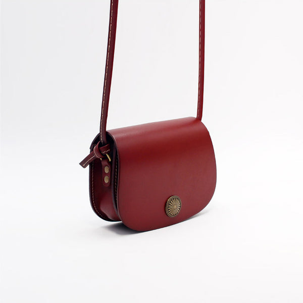 Mini Vintage Handmade Leather Saddle Crossbody Shoulder Round Bag Purses Women dark brown left