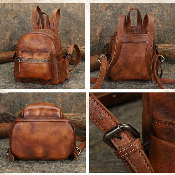Mini Womens Brown Leather Backpack Purse Book Bags Purses for Women Details