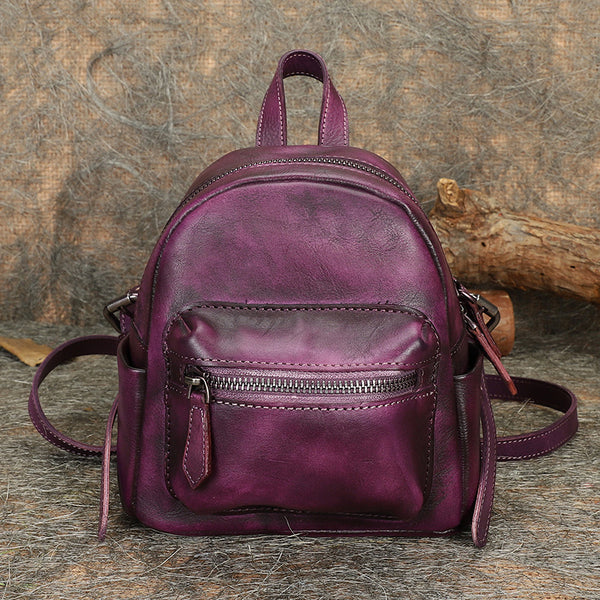 Mini Womens Brown Leather Backpack Purse Book Bags Purses for Women cute