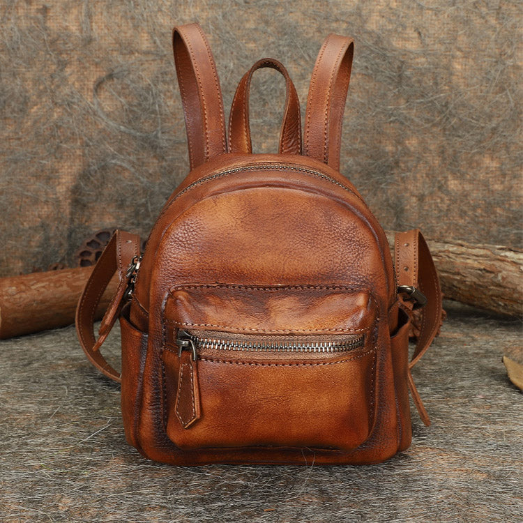 Mini Womens Brown Leather Backpack Purse Book Bags Purses for Women