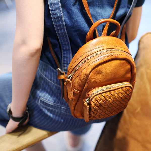 Mini Womens Brown Leather Backpack Purse Cute Backpacks for Women