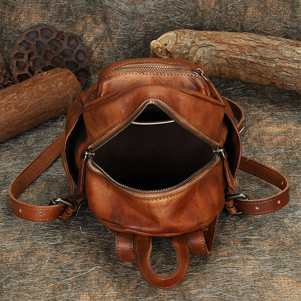Mini Womens Brown Leather Backpack Purse