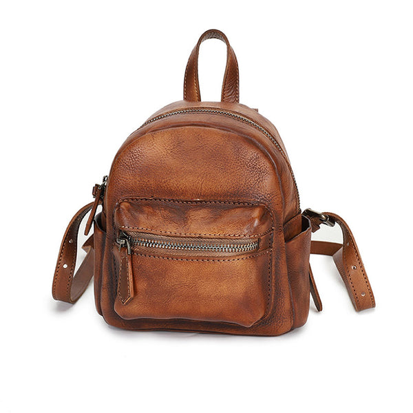 Mini Womens Brown Leather Backpack
