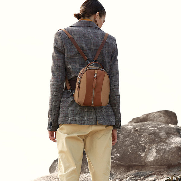 Mini Womens Canvas Leather Backpack Purse Canvas Rucksack Handbags for Women Brown