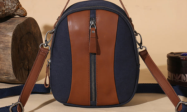 Mini Womens Canvas Leather Backpack Purse Canvas Rucksack Handbags for Women Cool