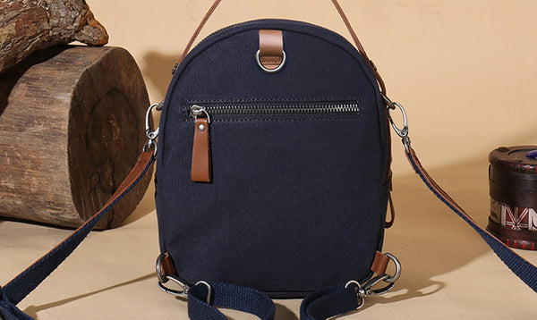 Mini Womens Canvas Leather Backpack Purse Canvas Rucksack Handbags for Women Cute