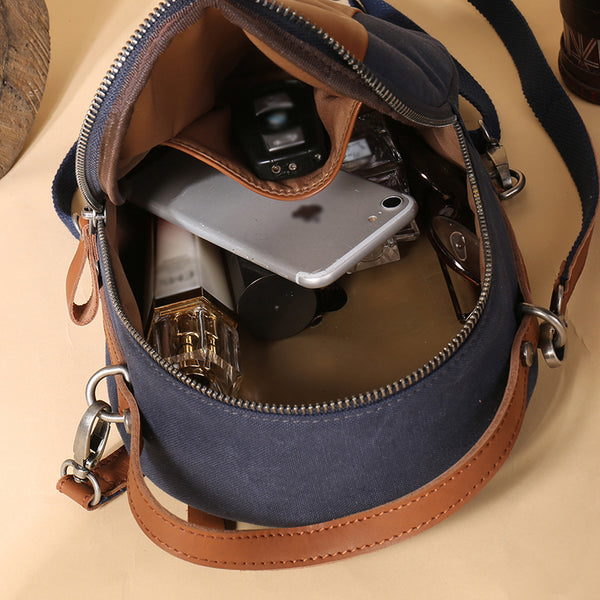 Mini Womens Canvas Leather Backpack Purse Canvas Rucksack Handbags for Women Inside