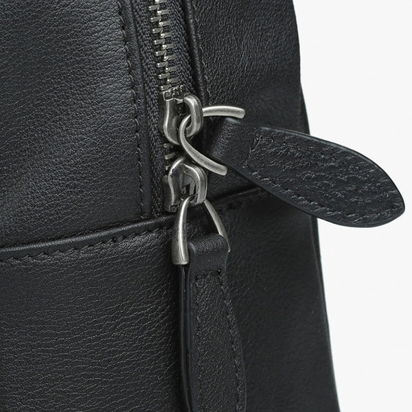 Mini Womens Designer Black Leather Braided Backpack Purse Handmade Backpacks for Women Details
