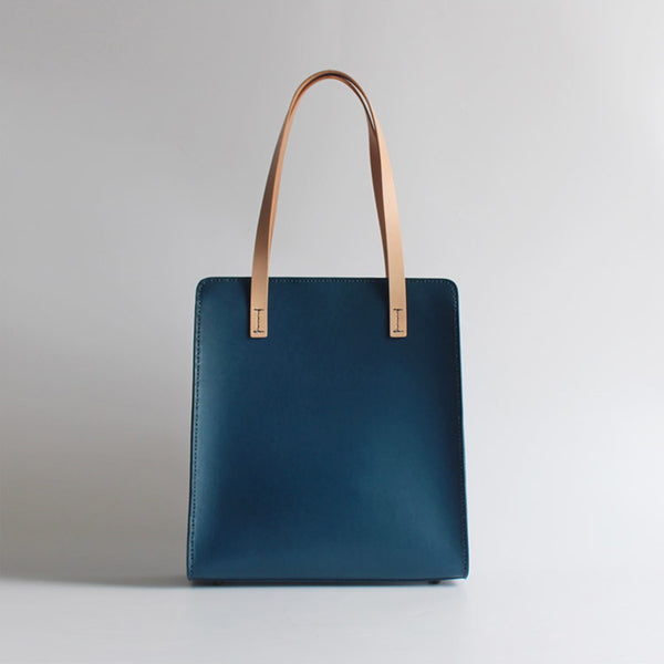 Minimalist Women Blue Leather Tote Bag Handbags Shoulder Bag for Women