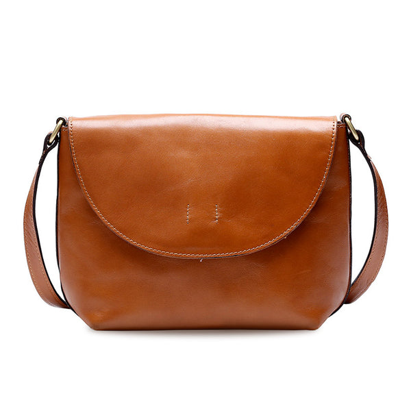 Minimalist Women Brown Leather Satchel Bag Crossbody Bags Purses for Women