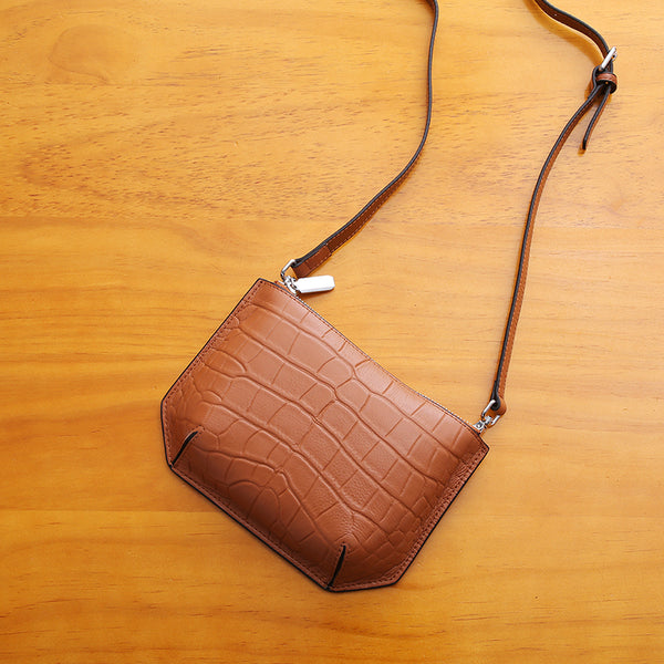 Minimalist Womens Brown Leather Crossbody Bags Shoulder Bag for Women Accessories