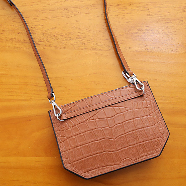 Minimalist Womens Brown Leather Crossbody Bags Shoulder Bag for Women Brown