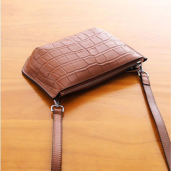 Minimalist Womens Brown Leather Crossbody Bags Shoulder Bag for Women Chic