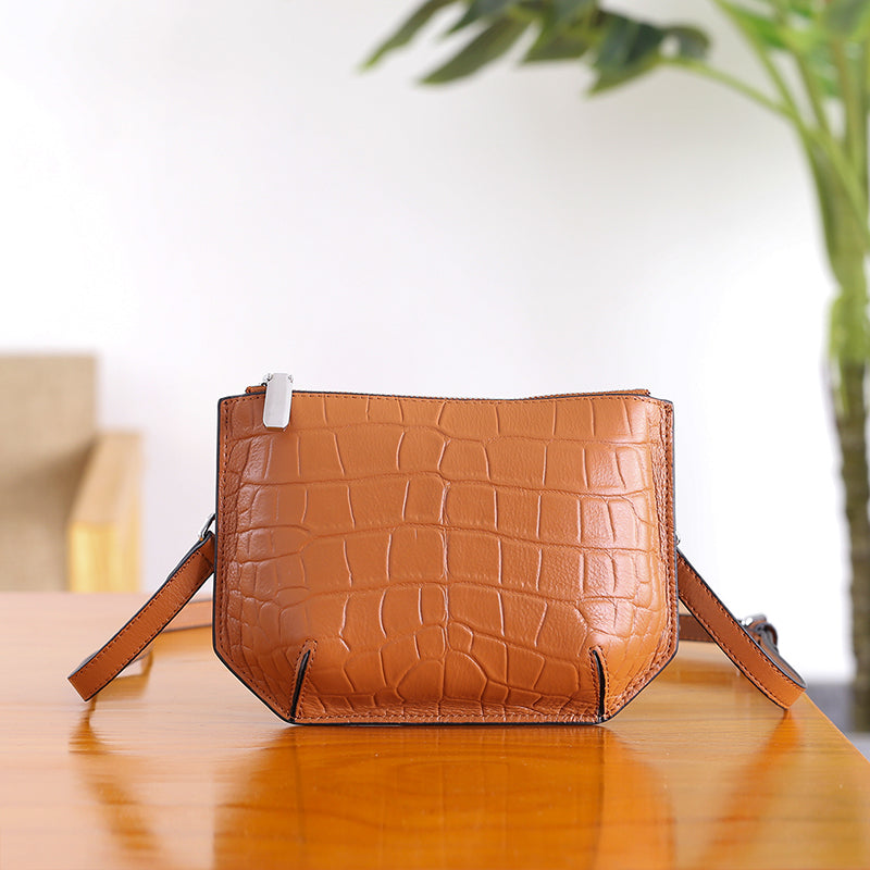 Minimalist Womens Brown Leather Crossbody Bags Shoulder Bag for Women beautiful
