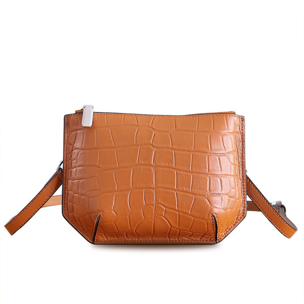Minimalist Womens Brown Leather Crossbody Bags Shoulder Bag for Women