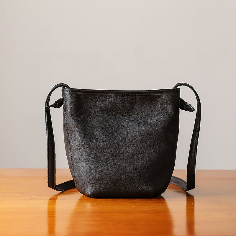 Minimalist Womens Leather Crossbody Bags Shoulder Bag for Women Black