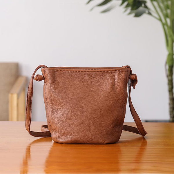 Minimalist Womens Leather Crossbody Bags Shoulder Bag for Women Brown