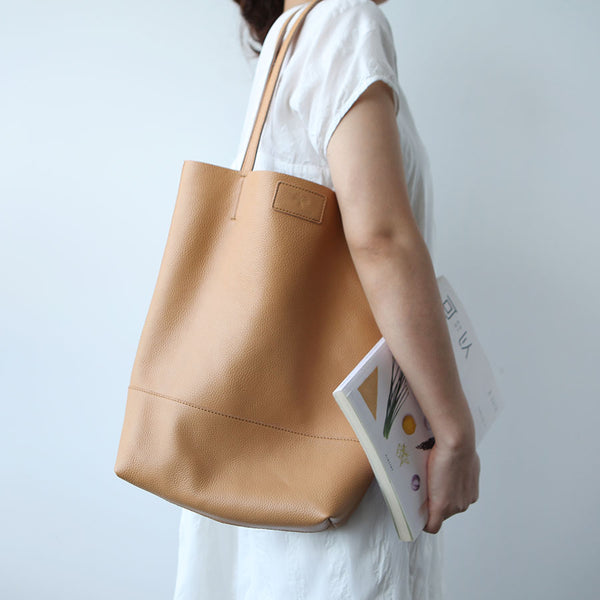 Minimalist Womens Leather Tote Bag Handbags Shoulder Bag for Women Brown