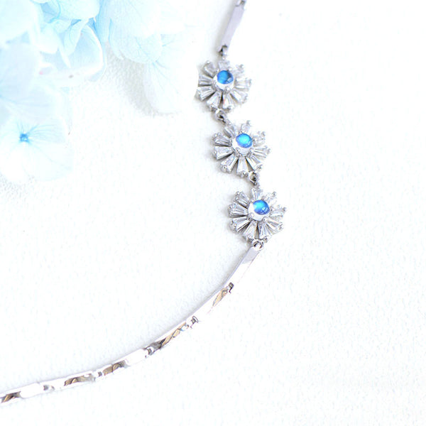 Moonstone Flowers Bracelet in White Gold Plated Silver June Birthstone Jewelry Women