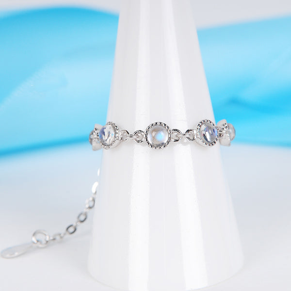 Moonstone Chain Ring Silver Unique Engage Ring June Birthstone Gift Women Accessories outfit