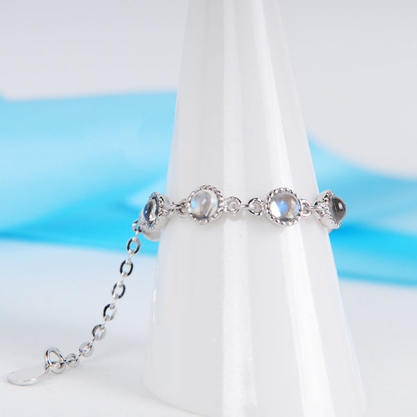Moonstone Chain Ring in Sterling Silver Unique Engage Ring June Birthstone Gift Women