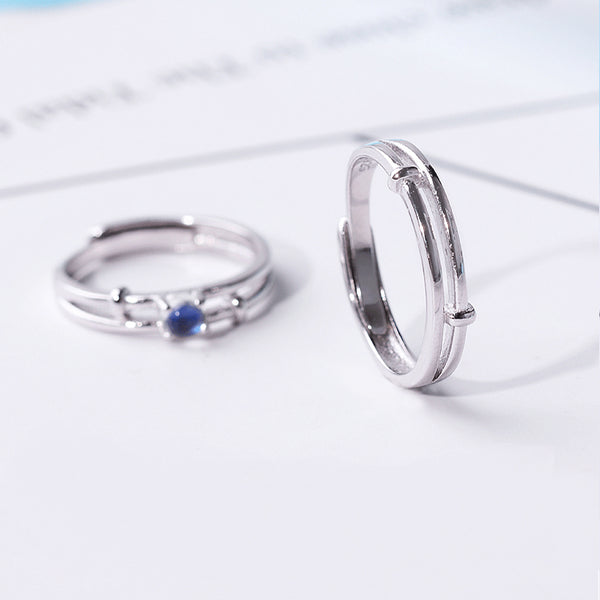 Moonstone Couple Rings Silver Lovers Jewelry Promise Rings Women Men accessories