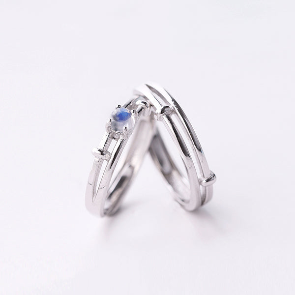 Moonstone Couple Rings in Sterling Silver Lovers Jewelry Promise Rings Women Men