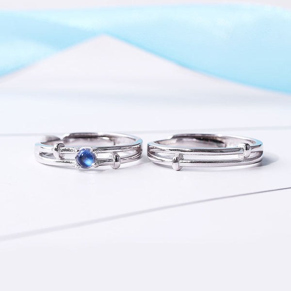 Moonstone Couple Rings Silver Lovers Jewelry Promise Rings Women Men gift