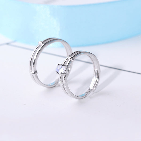 Moonstone Couple Rings Silver Lovers Jewelry Promise Rings Women Men blue stone june birthstone