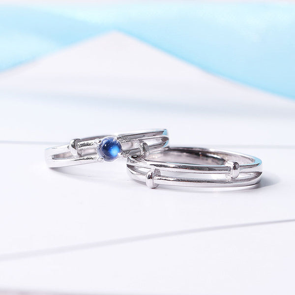 Moonstone Couple Rings Silver Lovers Jewelry Promise Rings Women Men
