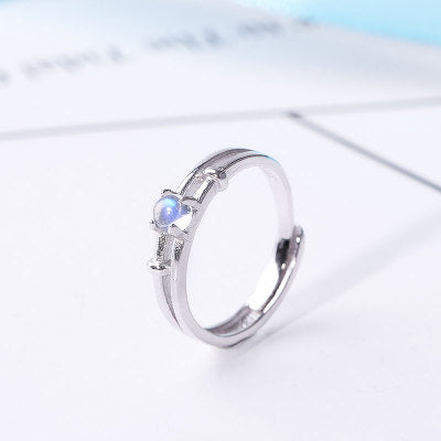 Moonstone Couple Rings Silver Lovers Jewelry Promise Rings Wome