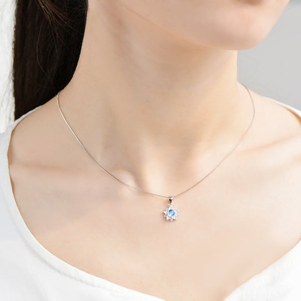 Moonstone Pendant Necklace June Birthstone Jewelry Sterling Silver Accessories Women beautiful