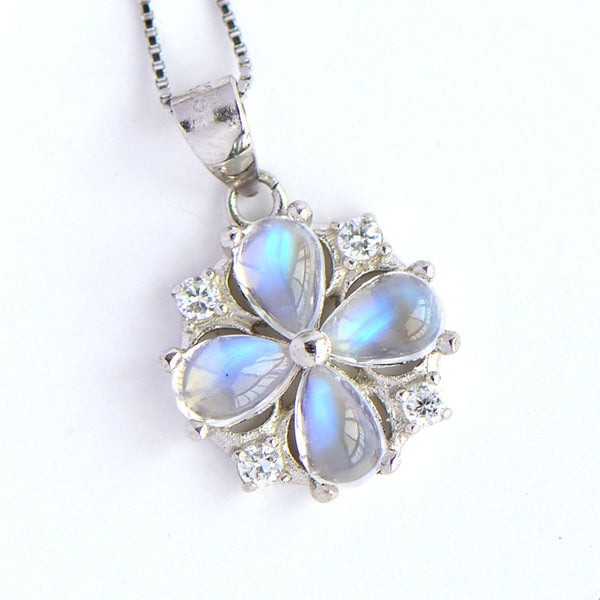 Moonstone Pendant Necklace June Birthstone Jewelry Sterling Silver Accessories Women cute
