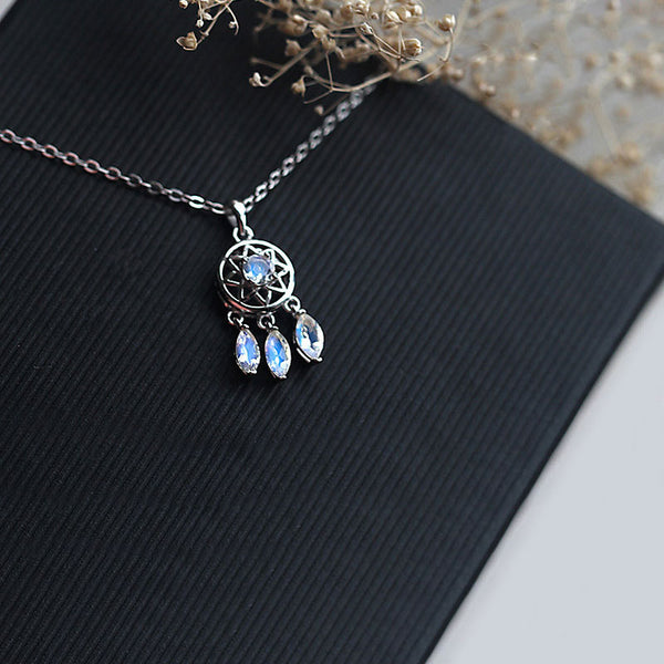 Moonstone Pendant Necklace Silver Handmade June Birthstone Gemstone Jewelry Women elegant