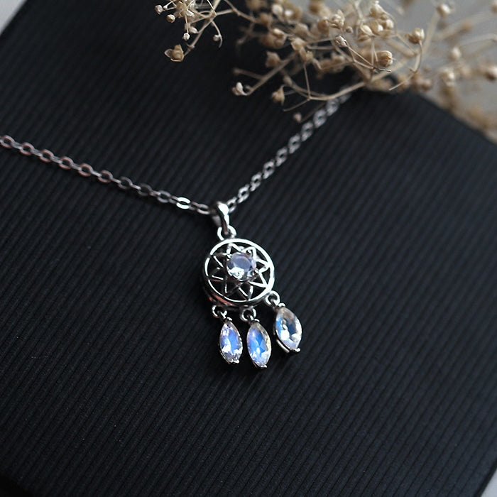 Moonstone Pendant Necklace Silver Handmade June Birthstone Gemstone Jewelry Women