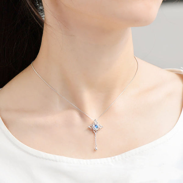 Moonstone Pendant Necklace Silver Jewelry Women Accessories