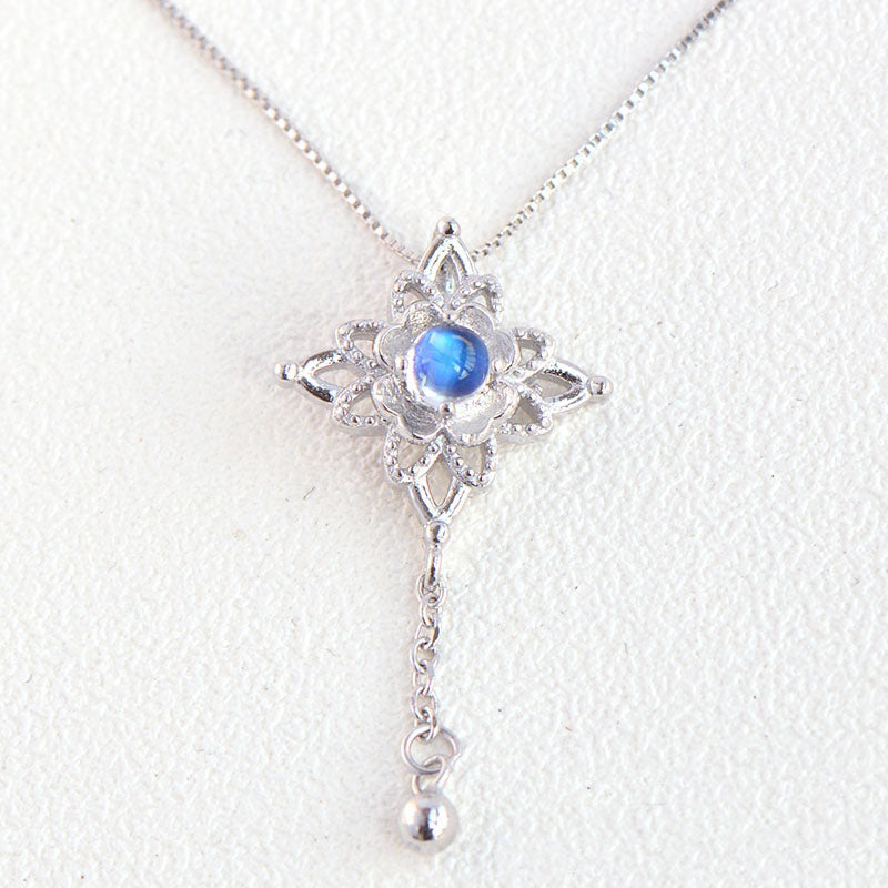 Moonstone Pendant Necklace Silver Jewelry Women blue gemstone