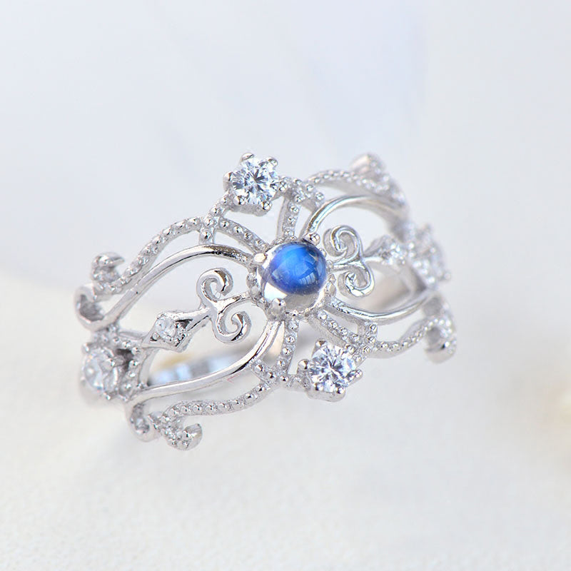 Vintage Moonstone Ring White Gold Plated Silver Engagement Ring June