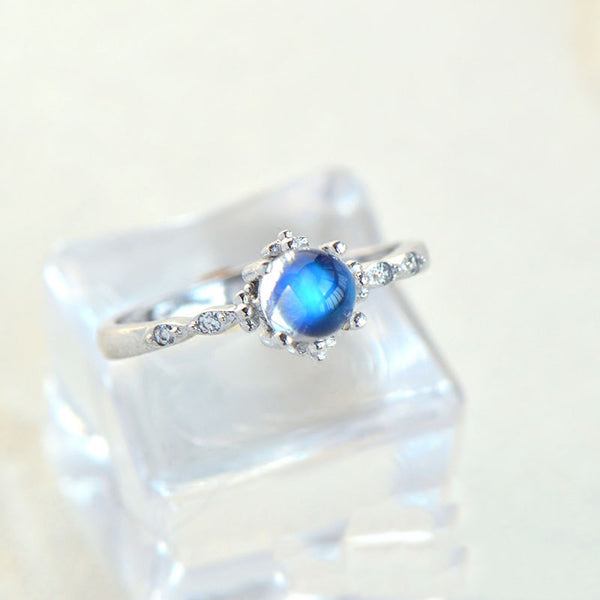 Beautiful Blue Moonstone Ring in White Gold Plated Silver Engage Ring June Birthstone Women