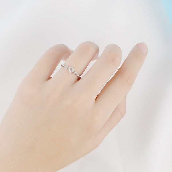 Moonstone Ring White Gold Plated Silver Engage proposal PROMISS Ring Women