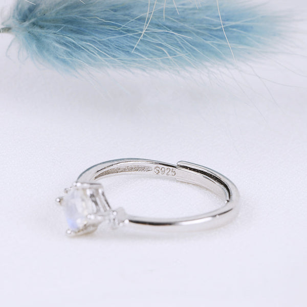 Moonstone Ring White Gold Plated Silver Engage proposal Ring Women GIFT