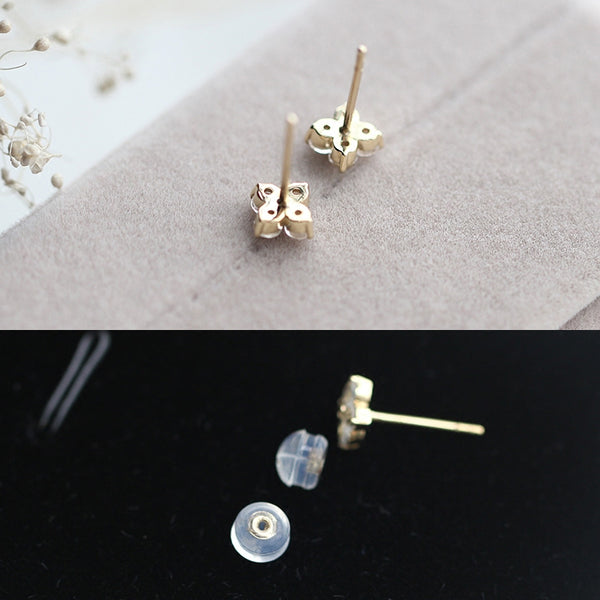 Moonstone Stud Earrings Gold Jewelry Accessories Women chic